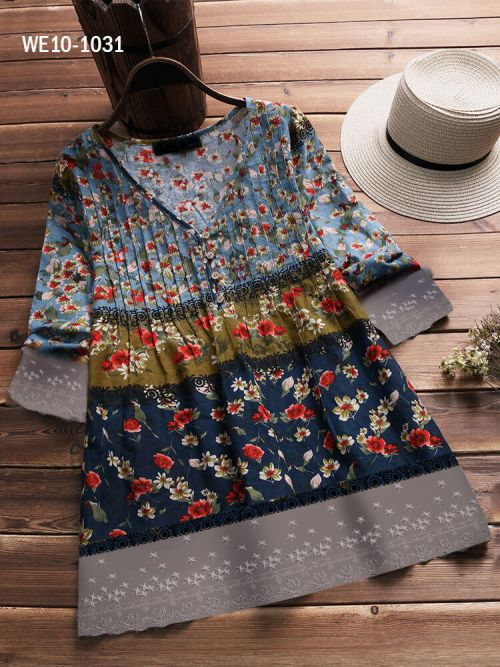Floral Printed Patchwork Women Top