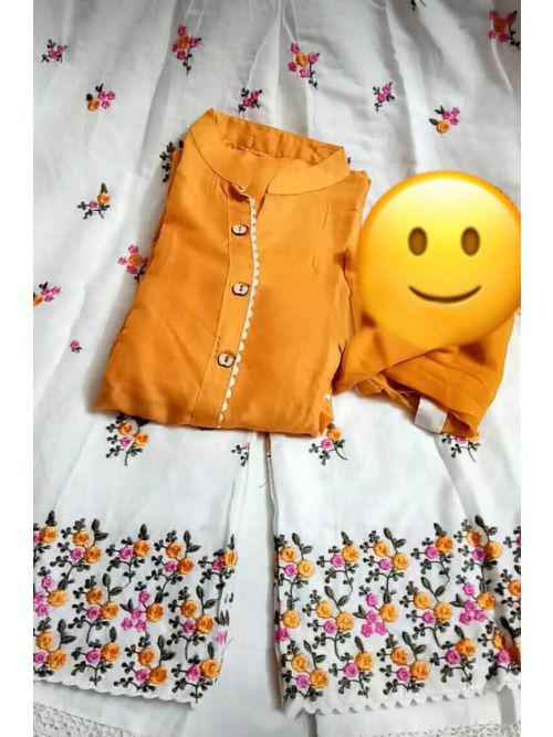 Mustard Colour Kurti With Embroidery Palazzo And Dupatta