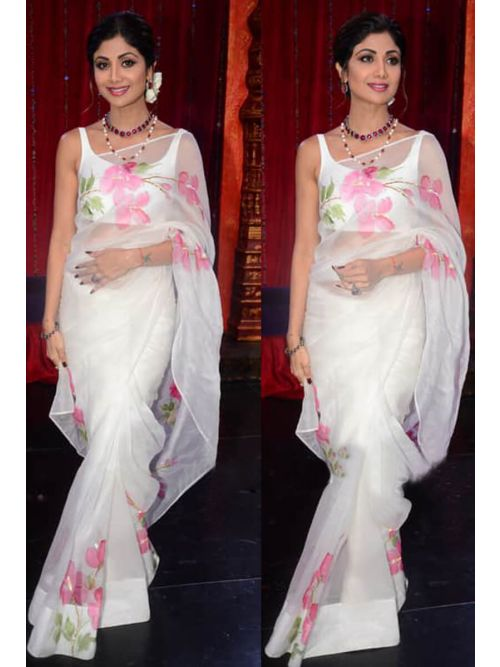 White Saree With Printed Pink Flowers