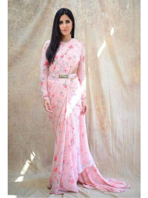 Fancy Light Pink Georgette Printed Saree With Full Sleve Blouse