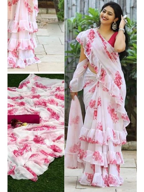 Pink Floral Printed Casual Wear Saree With Unstitched Blouse