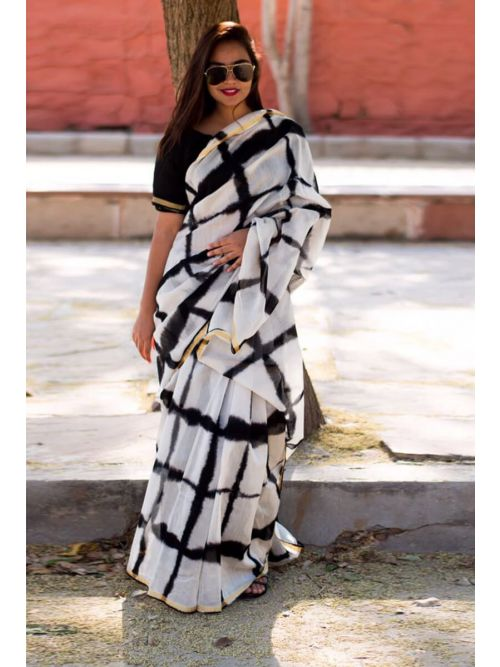 Black And White Beauty Fancy Georgette Saree