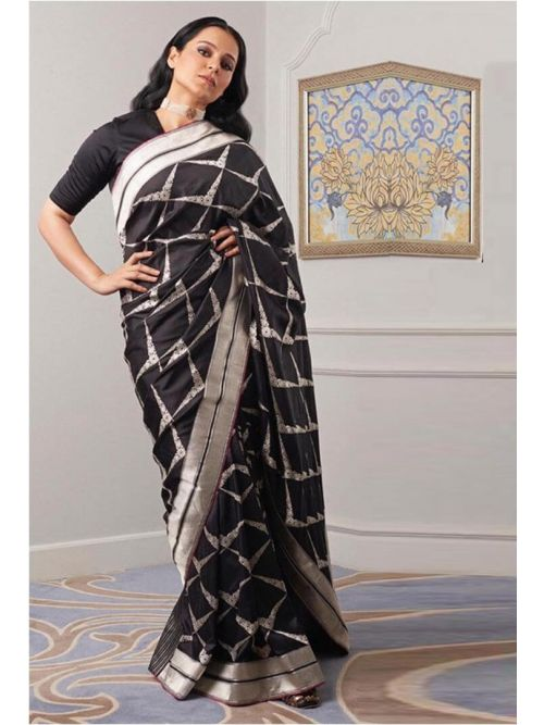 Very Fency And Black Saree