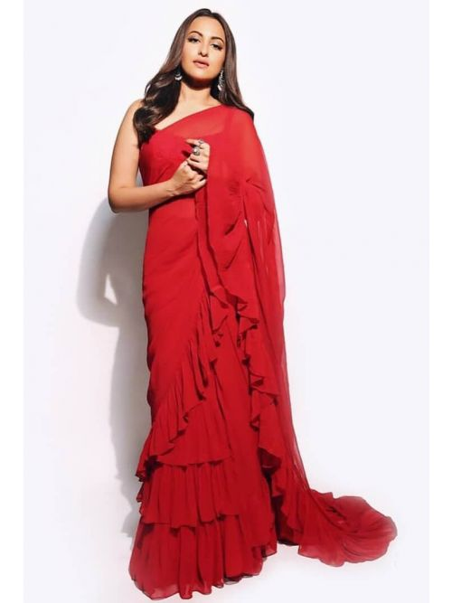 Red Color Georgette Frill Saree