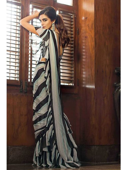 White And  Black Color Lininng Frill Work Saree